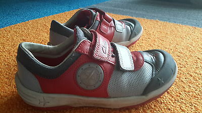 clarks boys 11 f velcro red grey light up airplane shoes
