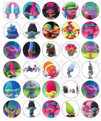 30 Trolls Edible Paper Cupcake Cup Cake  Topper Image