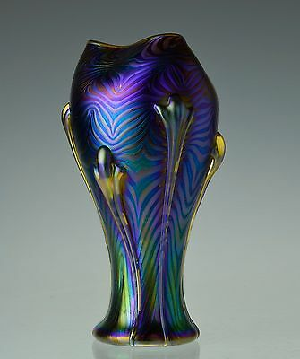 Studio Hand Blown Art Nouveau Style Iridescent Art Glass Vase