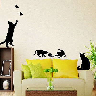 Cartoon Staircase Cats Wall Sticke Vinyl Home Decor Living Room Kids Wall Decora
