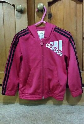 Toddler Girls Adidas Pink and Black Hooded Zip Up Jacket Size 1