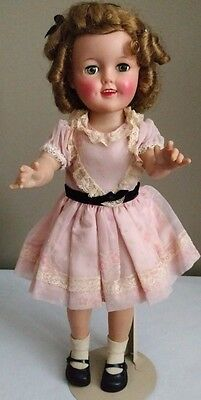 "1957 Vintage Vinyl 17"" Shirley Temple Doll All Original Tagged Outfit & Pin"