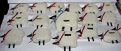 25 NOS Enesco Wooly Sheep Christmas Tree Ornaments 24 small 1 large tree topper