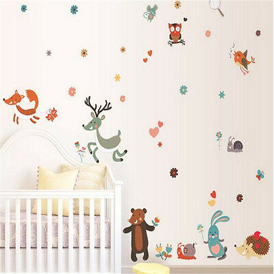 Removable Small Animals Bird Owl Wall Stickers Bedroom Wall Stickers For Kids Ro