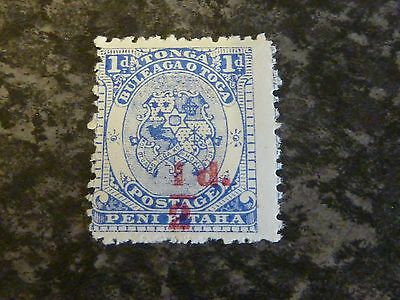 Tonga Postage Stamp Sg15 1/2D On 1D Bright Ultramarine Mounted Mint