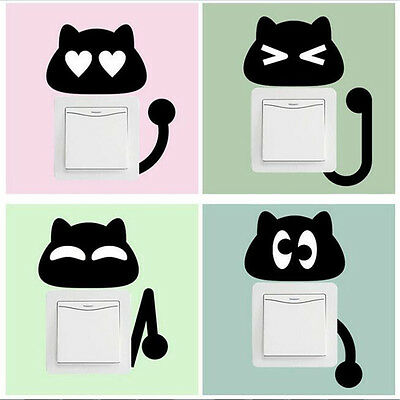 Cartoon 10pcs Black Kitten Switch Stickers Wall Stickers For Children's Rooms Li