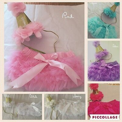 Baby Girls 1st First Birthday Deluxe Outfit Cake Smash Frilly Tutu Knickers Hat