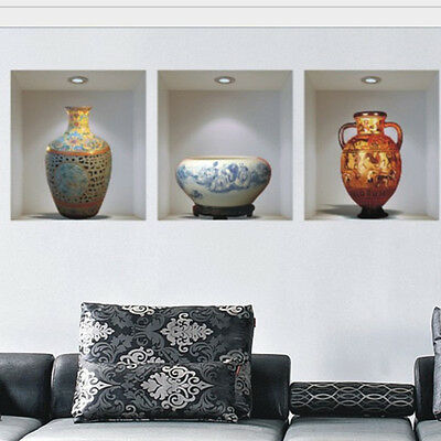Chinese style ceramic vase vinyl wall stickers home decor decoration living room