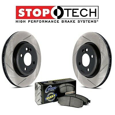 Pair Set of Front StopTech Slotted Brake Discs Fleet Pads For Armada Titan QX56