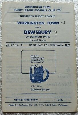 Workington Town v Dewsbury Saturday 27 February 1971 Rugby League Programme