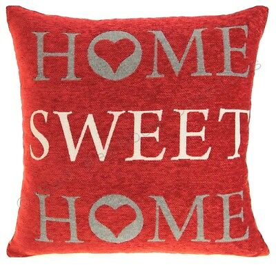 "Home Sweet Home 18"" Chenille Cushion Cover Red, Cream & Grey BN"