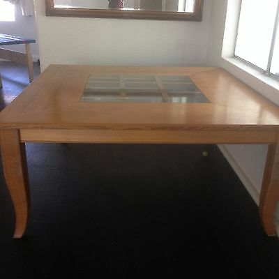 8 Seat  Custom Wood Dining Table with Glass centre piece and 8 Chairs