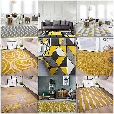Modern Ochre Mustard Rug For Living Room Soft Warm Yellow & Grey Geometric Rugs