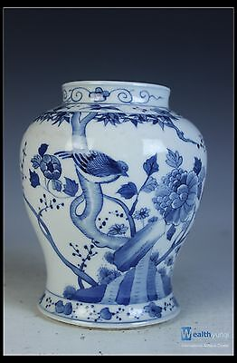 Chinese  Beautiful Blue & White Porcelain Bird Pot