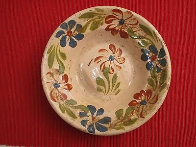 Antique Early Redware Hand Decorated Plate Dish Flowers Red Blue Green 19Th Poss