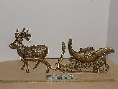 """Vintage """"Lefton"""" Reindeer and Sleigh Christmas Candy Dish Solid Brass Beautiful"""