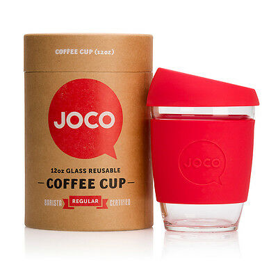 NEW Red reusable glass cup (various sizes) by JOCO