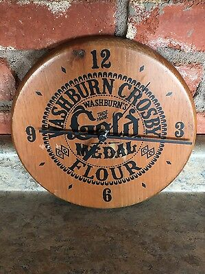 Vintage Washburn Crosby Gold Medal Flour Brown Wooden Wall Clock 9 inch diameter