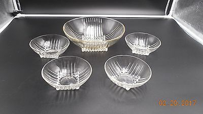 Federal Glass Park Avenue Salad Bowl With 4 Individual Bowls
