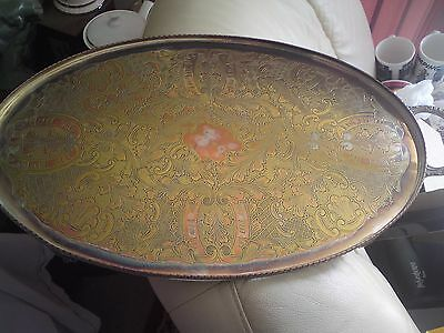 Vintage Silver Plate Viners Sheffield English Serving Oval Tray, Free-Mailing.