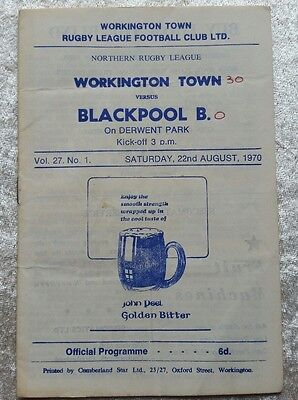 Workington town v Blackpool B Saturday 22nd August 1970 Rugby League Programme