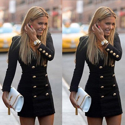 Women Slim Long Sleeve Buttons Casual Bodycon Cocktail Mini Dress M