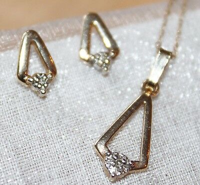 Estate ~ Vintage 10K Solid Gold Natural Diamond Pendant Necklace & Earrings Set