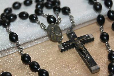 """25"""" Antique Vintage large EBONY bead and cross ROSARY with bronze medal"""