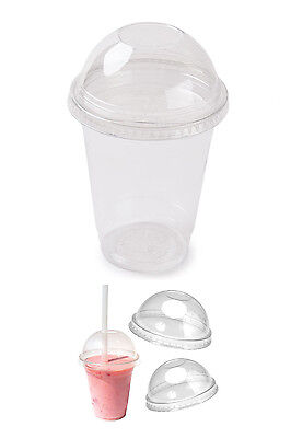 14oz & 16oz Disposable Clear Plastic Dome Lid Smoothie Cups Milkshake Cups Juice