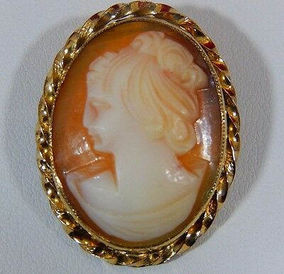 Vtg Hand Carved Shell Portrait Cameo Gold Filled Brooch Pin Or Pendant Evc