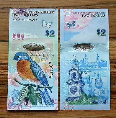 Bermuda 2 Dollar 2012 P-57 UNC BANKNOTE CURRENCY HYBRID