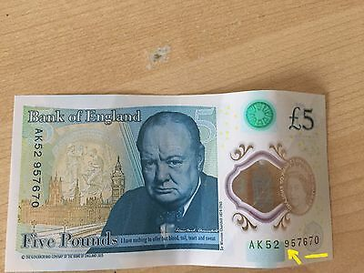 New rare AK52 collectable £5 five pound note with ERROR