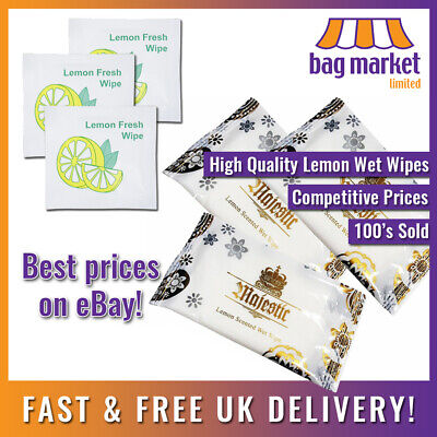 Lemon Scented Fresh Wet Wipes!! | Individually Wrapped! | Hand/Hot/Cold/Fragrant