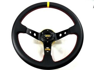 """350mm Sport Rally 4"""" Deep Dish Black Leather Red Stitch Car Steering Wheel"""