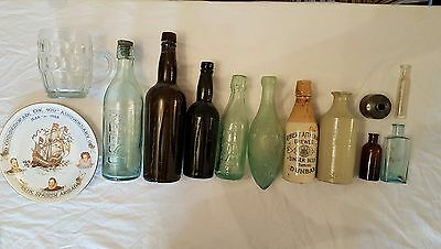 selection of bottles,inkwell,gr stamped pint glass and royal doulton plate