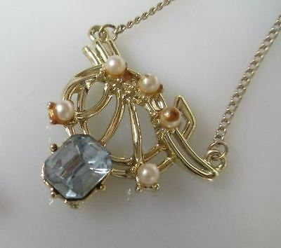 """Unsigned Gold-Tone/aquamarine/faux Pearl Prong-Set 16"""" Necklace. (256)"""