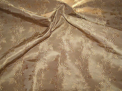 VINT. 1960's SCALAMANDRE FABRIC REMNANT-100% SILK- HAND-WOVEN  DAMASK,LEAF+BERRY