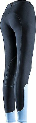Equi-Theme Pro Fun Line Childs Kids Breeches, Two Tone Colour, Stretch Material