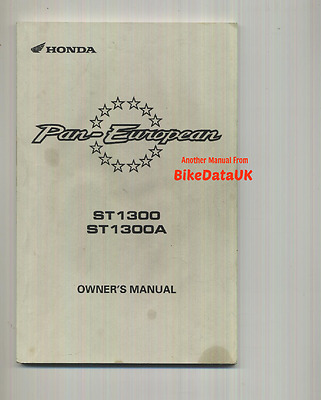 Honda ST1300 Pan European (2002-on) Owners Riders Manual Hand Book ST 1300 A ABS