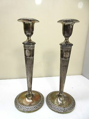 """La Pierre Sterling Silver Candlesticks Weighted Pair 1921 9-1/2"""" 19.5oz #2151"""