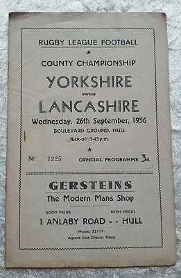 Yorkshire v Lancashire County Championship Rugby League 1956 Programme