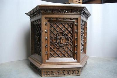 Church Pulpit Podium or Lectern, 19th Century Antique, French Oak, Hostess Stand