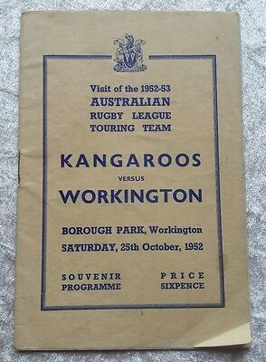 Australia v Workington Town Saturday 25th October 1952 Rugby League Programme