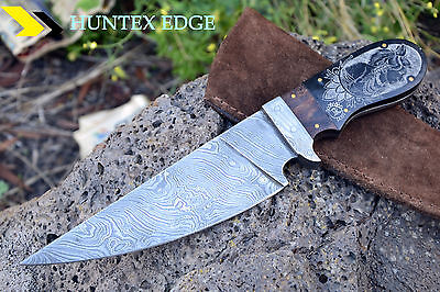LAVER'S Hand Made Damascus Steel Hunting knife *** SCRIMSHAW ***