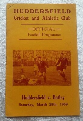 Huddersfield v Batley Saturday March 28th 1959 Rugby League Programme