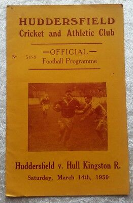 Huddersfield v Hull KR Saturday March 14th 1959 Rugby League Programme