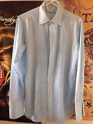 Vintage 60's RAMEY Pleated Front Tricot Polyester Dress Shirt  Tuxedo sz LARGE