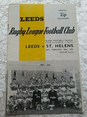 LEEDS v St HELENS 20th FEBRUARY 1971 CHALLENGE CUP ROUND 2