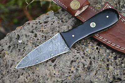 "HUNTEX Handmade Damascus 6.7"" Long Double Edge Unique Hunting Oyster Knife"