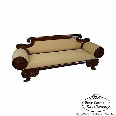Antique 19th Century American Empire Mahogany Carved Sofa